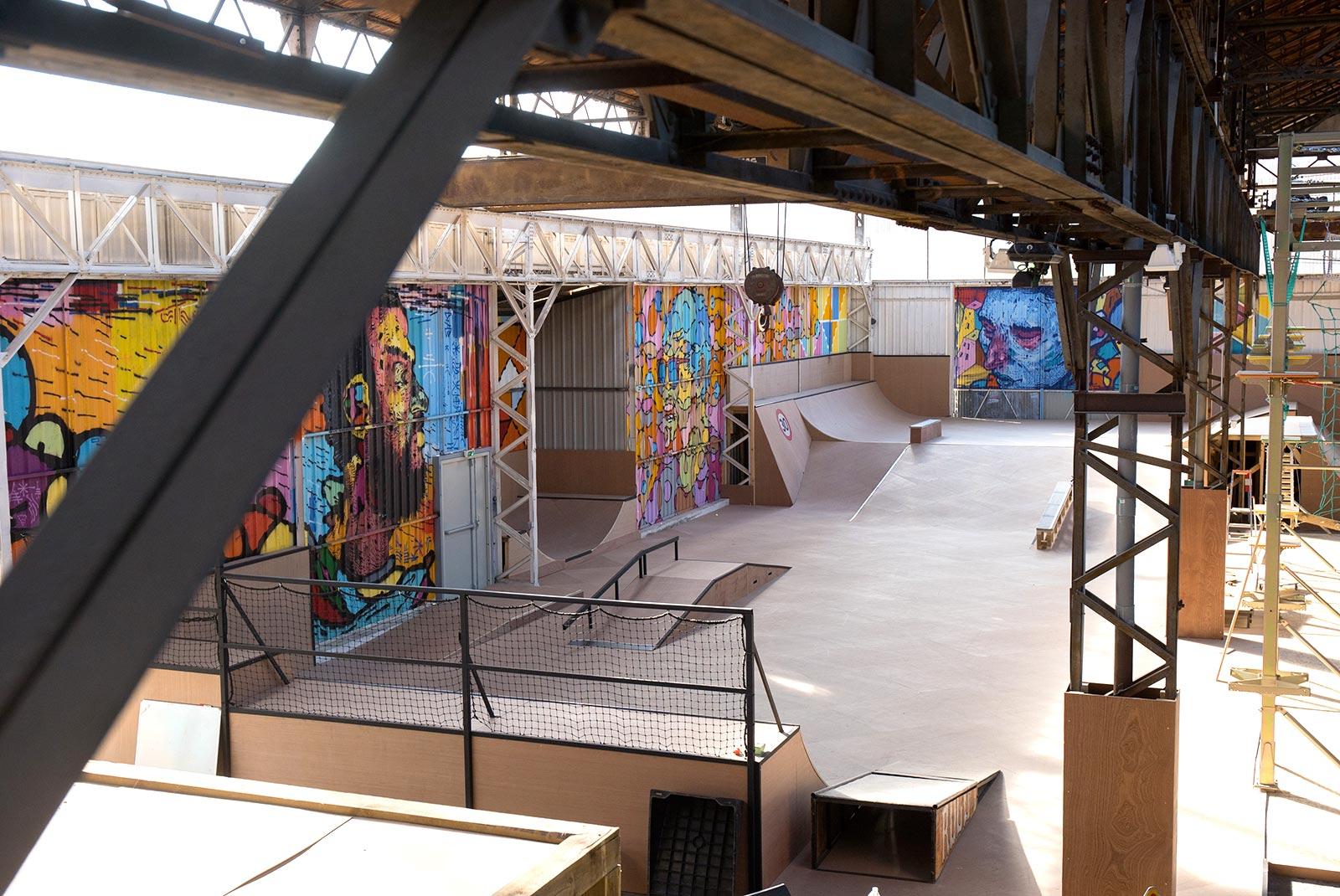 Vu générale du parc et du skatepark