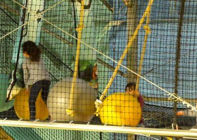 L'espace trampoline, situé à plusieurs mètres du sol