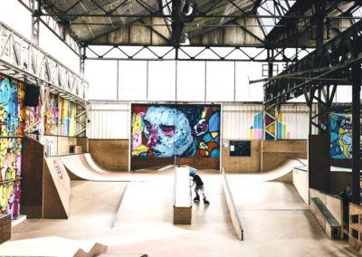 Vue d'ensemble du skatepark